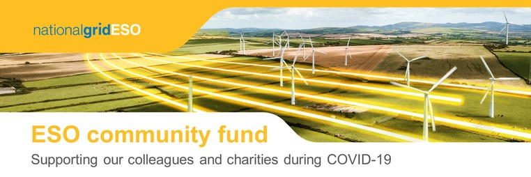 Banner of community fund with wind farm in background