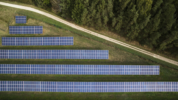 National Grid ESO - aerial view of solar panels