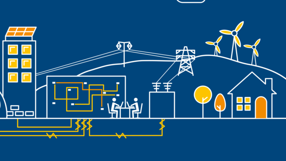 A blue background illustration showing buildings, pylons, wind turbines and underground electricity connections