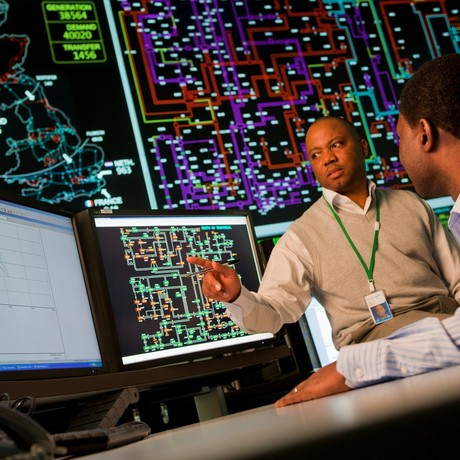 National Grid ESO Control Centre - employee at computer